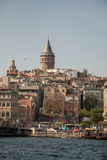 Galata Tower from Byzantium times in Istanbul. View of the Galata Tower from Byzantium times in Istanbul stock photos