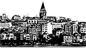 Galata Tower cityscape sketch illustration Istanbul, Turkey Royalty Free Stock Image