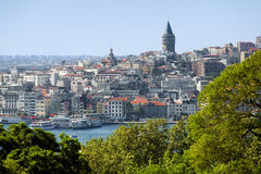 Galata Tower and district Beyoglu in Istanbul. View of the Galata Tower and district Beyoglu in Istanbul, Turkey royalty free stock image