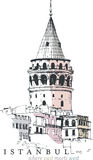 Galata Tower Drawing. Hand drawn illustration of the Galata Tower, Istanbul, Turkey Stock Photos