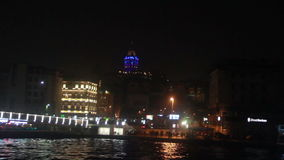Galata tower / eminonu bridge / December 2015 / Istanbul Peak /sea/ sky/nature stock footage