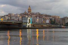 Galata Tower and Galata Bridge Stock Photography