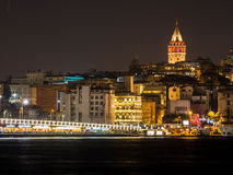 Galata Tower and Galata Bridge in Istanbul, Turkey Royalty Free Stock Photos