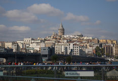 Galata Tower and Galata Bridge in Istanbul Royalty Free Stock Photo