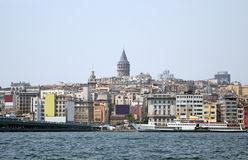 Galata tower and Galata brige of Golden horn bay Royalty Free Stock Images
