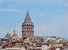 Galata Tower (Galata Kulesi) in Istanbul, Turkey Royalty Free Stock Photos