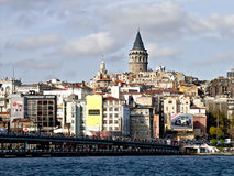 Galata Tower on GoldenHorn Royalty Free Stock Image