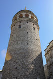 Galata tower from ground. Galata tower from below with blue sky in istanbul Royalty Free Stock Image