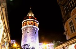 Galata Tower, Istanbul Beyoglu. Galata Tower and Historical Houses, Buildings, Trees and Street Lamps in Beyoglu Istanbul Turkey Royalty Free Stock Photo