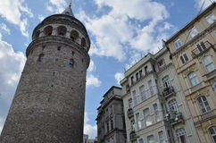 Galata tower between houses, Istanbul, Turkey Royalty Free Stock Photography