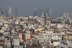Galata Tower in Istanbul City Stock Photos