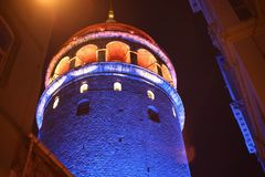 Galata Tower. Istanbul Colored lights ,Historical building Stock Images