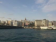 Galata Tower, istanbul landscape. City view from steamboat on the sea Stock Photos