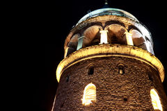 Galata Tower In Istanbul. Galata Tower Night View In Istanbul Royalty Free Stock Photography