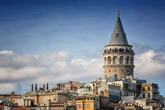 Galata Tower, Istanbul, Turkey. Galata Tower And Old Apartments, Istanbul, Turkey stock photo