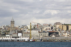 Galata tower İstanbul view from Bosphorus, istanbul Royalty Free Stock Image