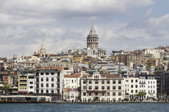 Galata tower İstanbul view from Bosphorus, istanbul Royalty Free Stock Photography