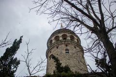 Galata Tower in Istanbul in winter royalty free stock photo