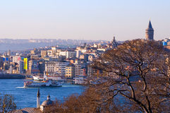 The Galata Tower and Karakoy district Royalty Free Stock Photography