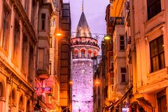 Galata Tower,medieval landmark architecture in Istanbul. View of old Galata Tower,medieval landmark architecture in Istanbul, Turkey.ISTANBUL/TURKEY- MARCH 11 royalty free stock photography