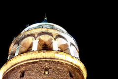 Galata Tower Night Closeup View In Istanbul. Historical Galata Tower At Night Closeup View In Istanbul Stock Photos