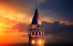 Galata Tower. At Night in Istanbul Turkey royalty free stock image
