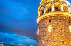 Galata Tower at night, Istanbul - Turkey.  Royalty Free Stock Photo
