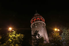 Galata Tower at Night Stock Photos