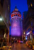 Istanbul, Beyoglu / Turkey 03.04.2019: Galata Tower Night View royalty free stock images