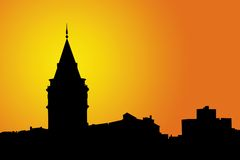 Galata Tower silhouettes royalty free stock photo