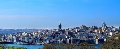 City skyline of Istanbul`s European side stock photos