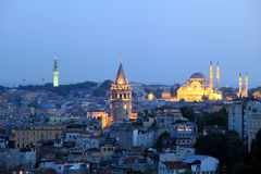 Galata Tower and Suleimanie Mosque Stock Photo