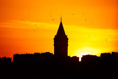 Galata Tower at sunset Royalty Free Stock Image