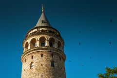 Galata Tower at sunset, Istanbul Stock Images
