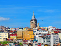 Galata Tower surrounded by Royalty Free Stock Photography