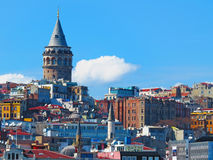 Galata Tower surrounded by Royalty Free Stock Photo