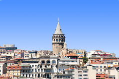 Galata Tower. View of the Galata district and the Galata Tower - istanbul Royalty Free Stock Photo