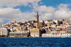 Galata Tower With Cityscape Over Halic Golden Horn In Istanbul Turkey Royalty Free Stock Images
