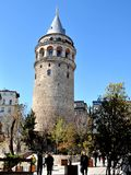 Galata wierza jest średniowiecznym kamienia wierza w Istanbuł, T Obrazy Stock