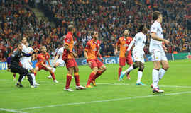 Galatasaray FC - Manchester United FC. Galatasaray FC- Manchester United FC soccer teams played at UEFA Champions League F Group, at Turkish Telecom Arena Royalty Free Stock Photo