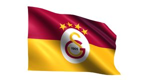 Galatasaray flag is waving. On transparent background. Seamless loop stock video
