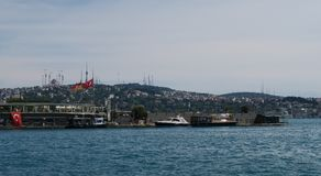Galatasaray Island in the North of Bosphorus Bridge in Istanbul, taken from a Ferry Stock Image