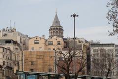 Galatatoren van de tijden van Byzantium in Istanboel royalty-vrije stock foto