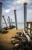 Galati,罗马尼亚- 2013年3月02日:被放弃的港口 免版税库存图片