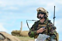 GALATI,罗马尼亚- 5月15 :在多角形的罗马尼亚JTAC军事 免版税图库摄影