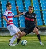 GALATI, ROMANAIA - 5月08日:未认出的足球运动员竞争 免版税库存图片