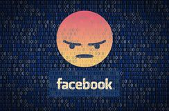 GALATI, ROEMENIË - 10 APRIL 2018: De gegevensbeveiliging en de privacykwesties van Facebook Het concept van gegevensencription stock illustratie