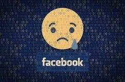 GALATI, ROEMENIË - 10 APRIL 2018: De gegevensbeveiliging en de privacykwesties van Facebook Het concept van gegevensencription royalty-vrije illustratie
