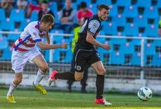 GALATI, ROMANAIA - MAJ 08: Niezidentyfikowani gracze futbolu współzawodniczą Obrazy Stock