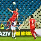GALATI, ROMANAIA -MAY 08: Unidentified football players compete Royalty Free Stock Photos